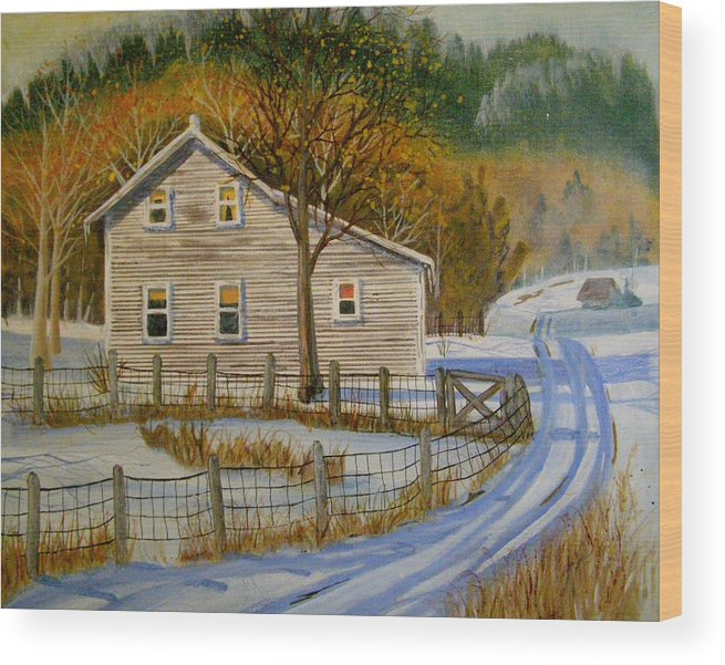 Landscape Wood Print featuring the painting Wintery Country Road by Teresa Boston