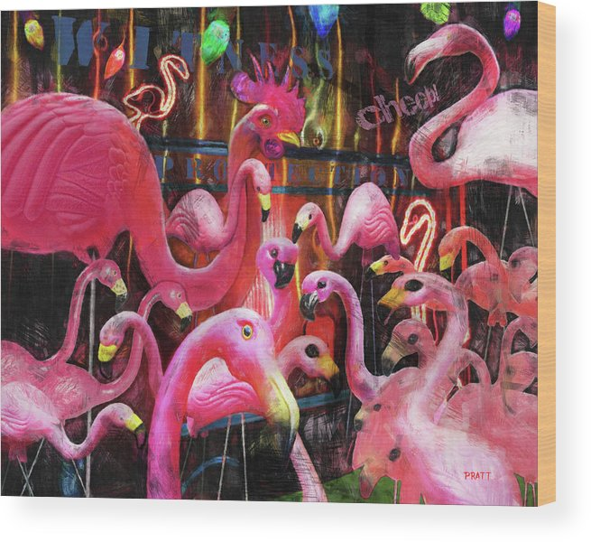 Plastic Flamingos Wood Print featuring the painting Witness Protection - Cheep by Robert Pratt