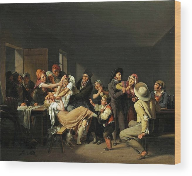 Louis Léopold Boilly - Women Fighting 1818 Wood Print featuring the painting Women Fighting by MotionAge Designs