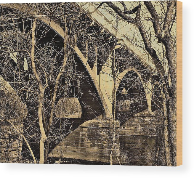 Gervais Street Bridge Wood Print featuring the photograph Wooded Gervais by Edward Shmunes