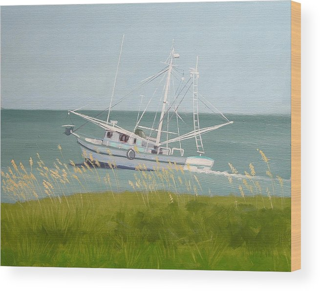 Shrimp Boat Wood Print featuring the painting Working In Close by Robert Rohrich