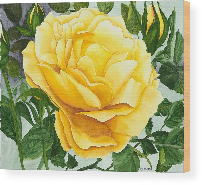 Yellow Rose Watercolor Painting Wood Print featuring the painting Yellow Rose by Robert Thomaston