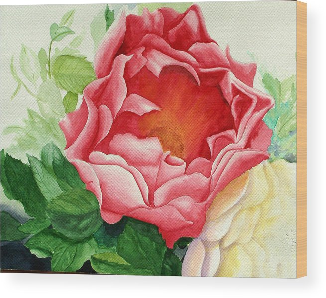 Red Rose Watercolor Painting Wood Print featuring the painting Yes It Is A Rose by Robert Thomaston