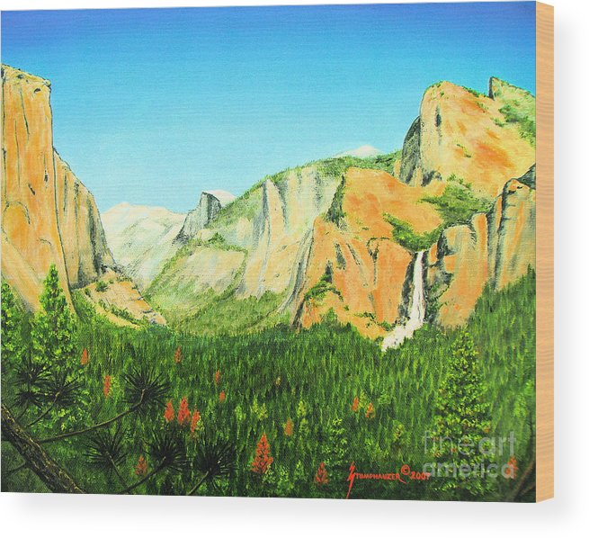 Yosemite National Park Wood Print featuring the painting Yosemite National Park by Jerome Stumphauzer