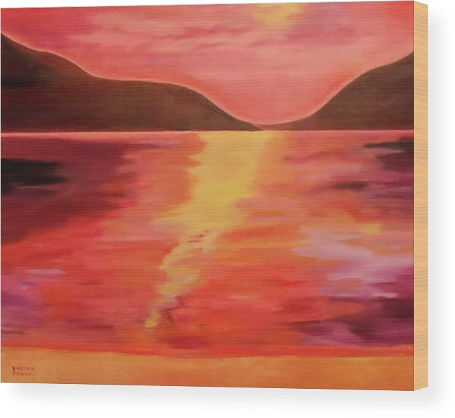 Sunset Wood Print featuring the painting Zenset by Dani Altieri Marinucci