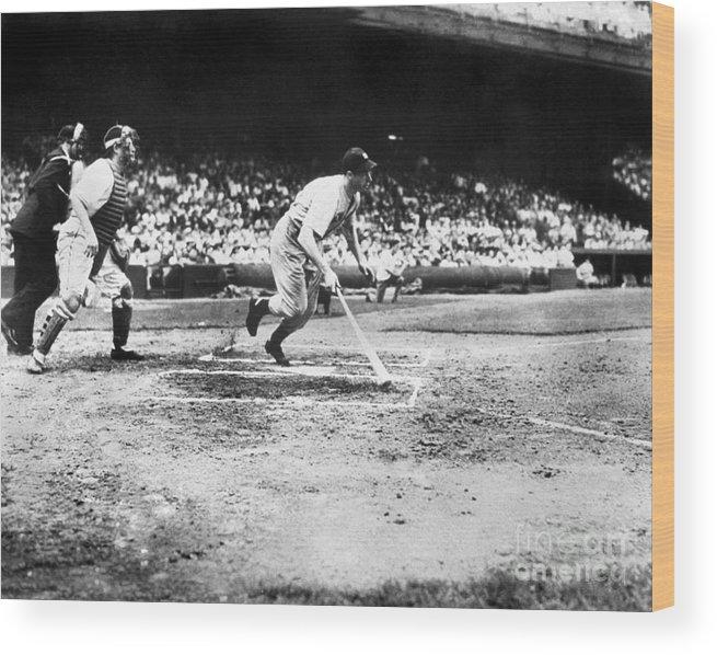American League Baseball Wood Print featuring the photograph National Baseball Hall Of Fame Library 205 by National Baseball Hall Of Fame Library