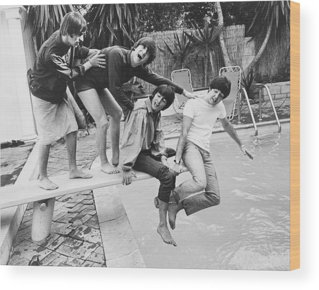 Singer Wood Print featuring the photograph Beatles In La by Express