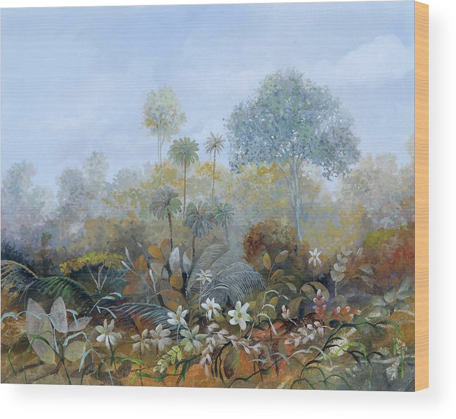 Wood Wood Print featuring the painting Boschetto Colorato by Guido Borelli