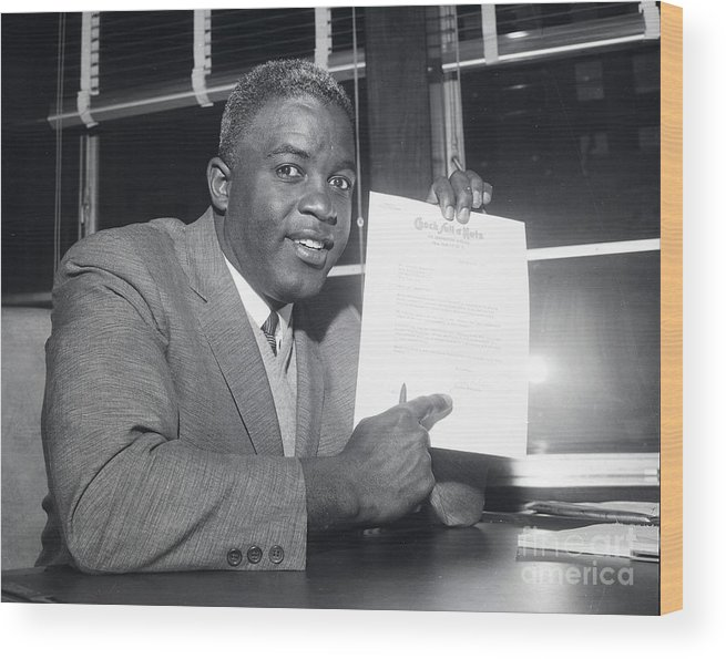 People Wood Print featuring the photograph Jackie Robinson Retires 1957 by Transcendental Graphics