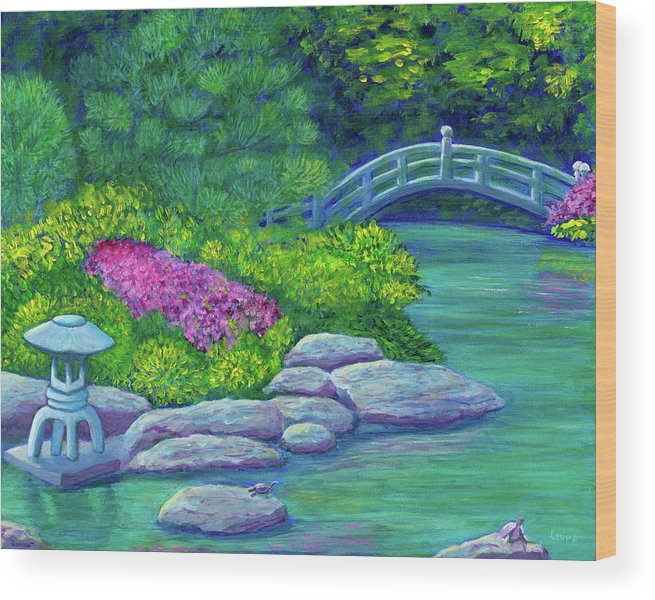 Japan Wood Print featuring the painting Japanese Garden by Laura Zoellner