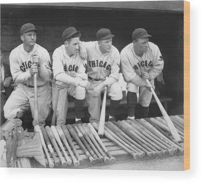 People Wood Print featuring the photograph Members Of The Chicago Cubs by Chicago History Museum