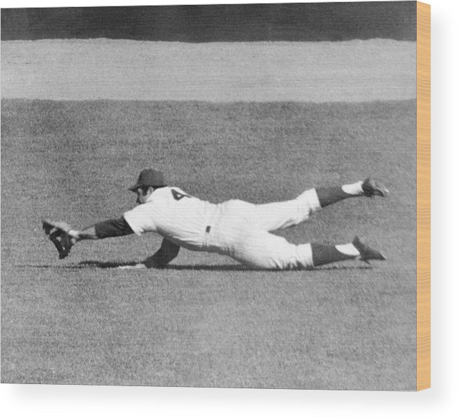 Ninth Inning Wood Print featuring the photograph Mets Ron Swoboda Dives To Stab Brooks by New York Daily News Archive