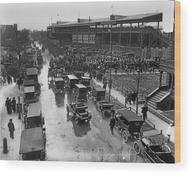 Outdoors Wood Print featuring the photograph Outside Wrigley Field by Chicago History Museum