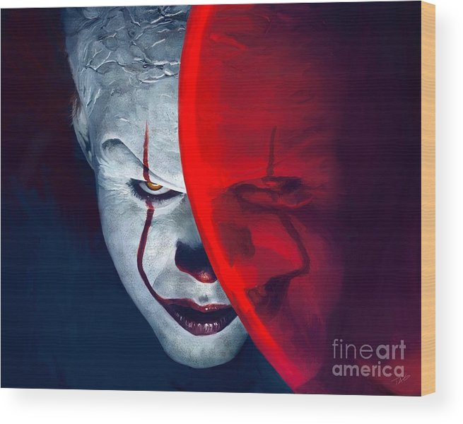 Pennywise Wood Print featuring the painting It Pennywise by Paul Tagliamonte