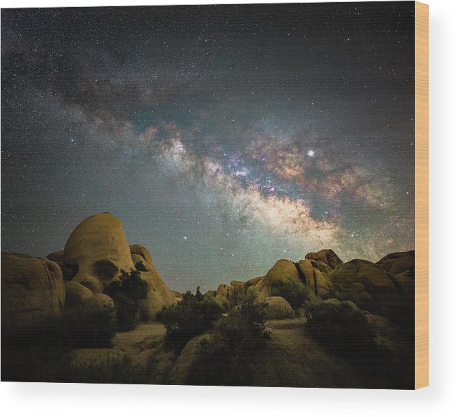 Landscape Wood Print featuring the photograph Skull Rock And Milky Way by Davorin Mance