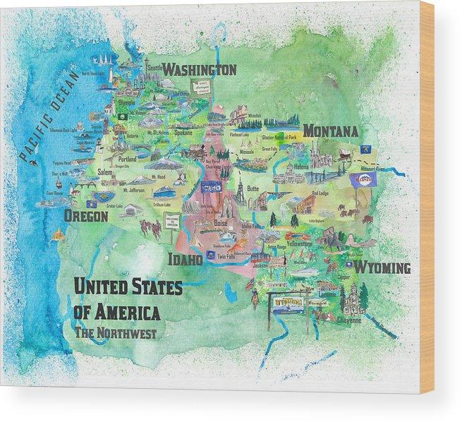 Usa Northwest States Illustrated Travel Map Wood Print By M Bleichner
