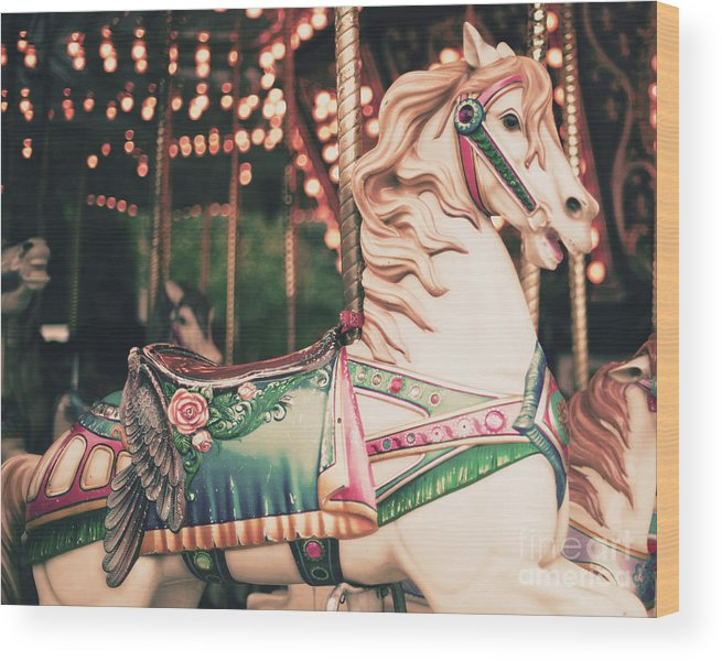 Birthday Wood Print featuring the photograph Vintage Carousel Horse by Andrekart Photography
