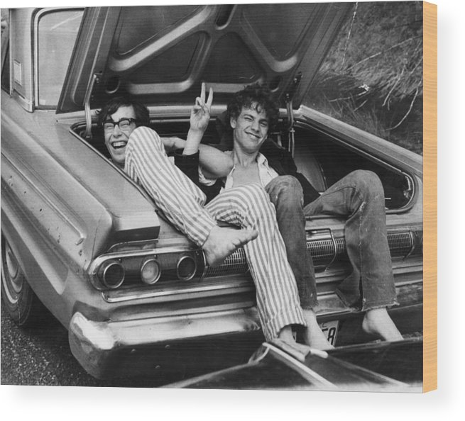 Mode Of Transport Wood Print featuring the photograph Woodstock Hitchers by Three Lions