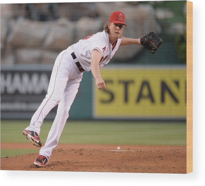 American League Baseball Wood Print featuring the photograph Jered Weaver by Harry How