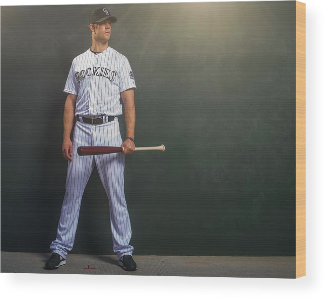 Media Day Wood Print featuring the photograph Justin Morneau by Rob Tringali