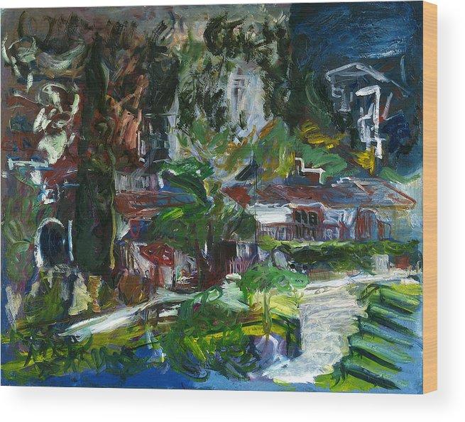 Landscape Wood Print featuring the painting Bellapais by Joan De Bot