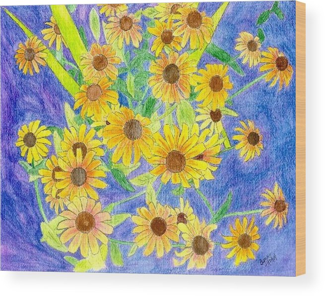 Watercolor Wood Print featuring the digital art Black Eyed Susan by Margie Byrne