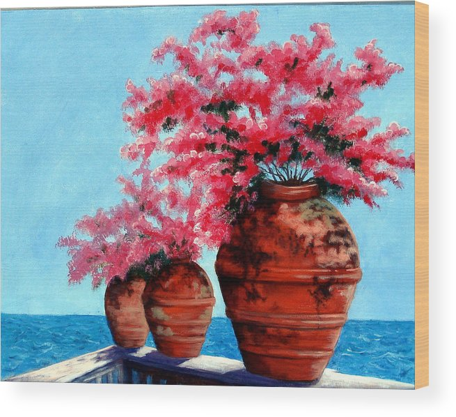 Bougainvillea Wood Print featuring the painting Bougainvillea by SueEllen Cowan