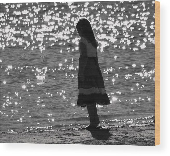 Wood Print featuring the photograph Child By Water by Lisa Johnston