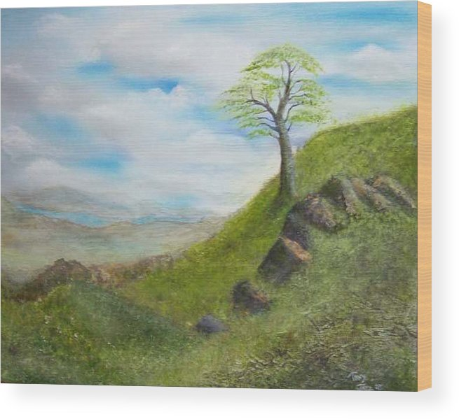 Landscape Wood Print featuring the painting Clouds by Tony Rodriguez