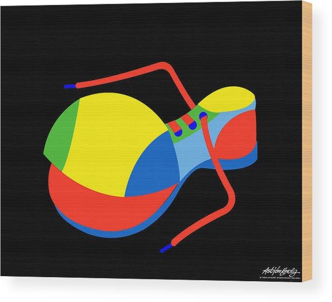 Clown Wood Print featuring the digital art Clown Shoe by Asbjorn Lonvig