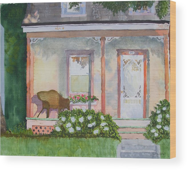House Wood Print featuring the painting Grandma's Front Porch by Ally Benbrook
