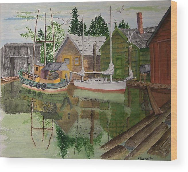 Landscape Wood Print featuring the painting lake Union Seattle by Robert Thomaston