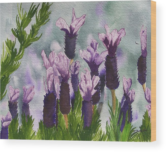 Floral Wood Print featuring the painting Lavender by Robert Thomaston