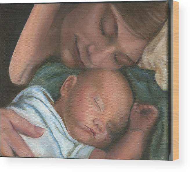 Mother Wood Print featuring the painting Mother And Son by Sandra Butler