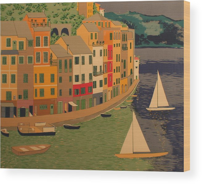 Harbor Wood Print featuring the painting pORTOFINO by Biagio Civale