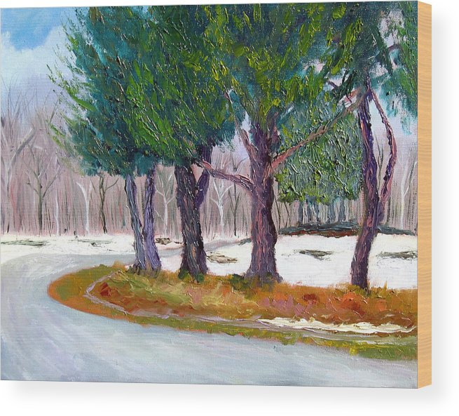 Landscape Wood Print featuring the painting Sewp Early Spring by Stan Hamilton