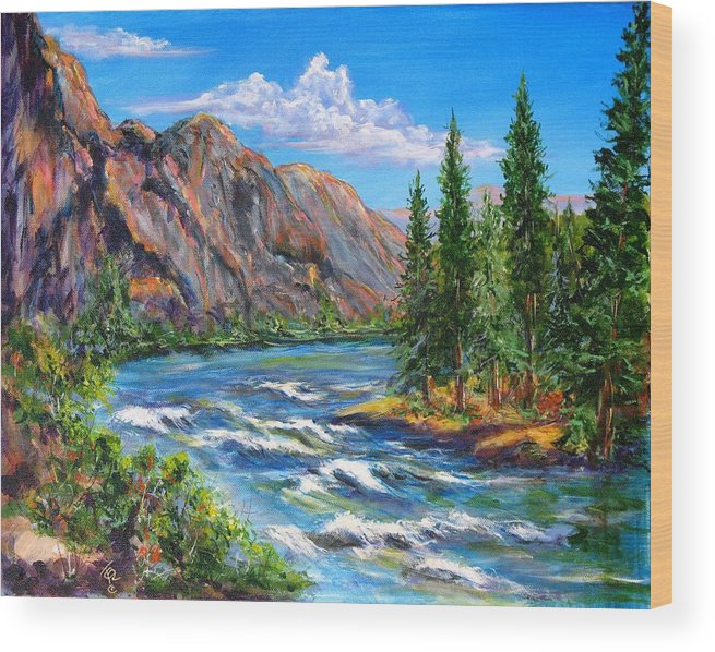 Landscape Wood Print featuring the painting Snake River by Thomas Restifo