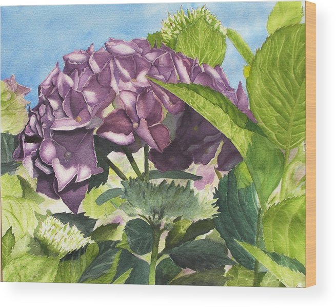 Floral Wood Print featuring the painting Vanessa's Flower by Robert Thomaston