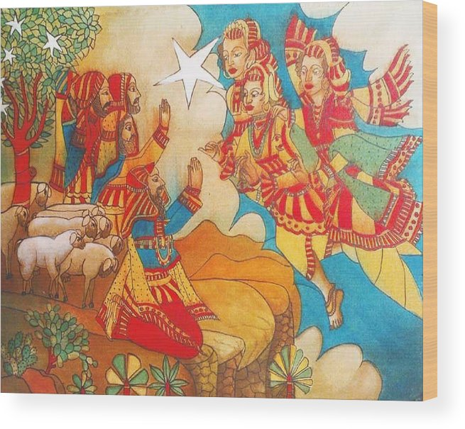 Indian Art Wood Print featuring the painting Easternvisitors by Bhanu Dudhat