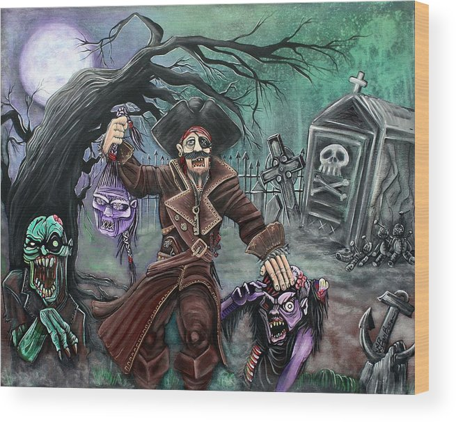 Pirate Wood Print featuring the painting Pirate's Graveyard by Laura Barbosa