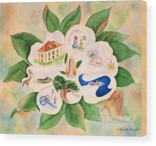 Magnolia Wood Print featuring the painting Southern Magnolia by Linda Burrow
