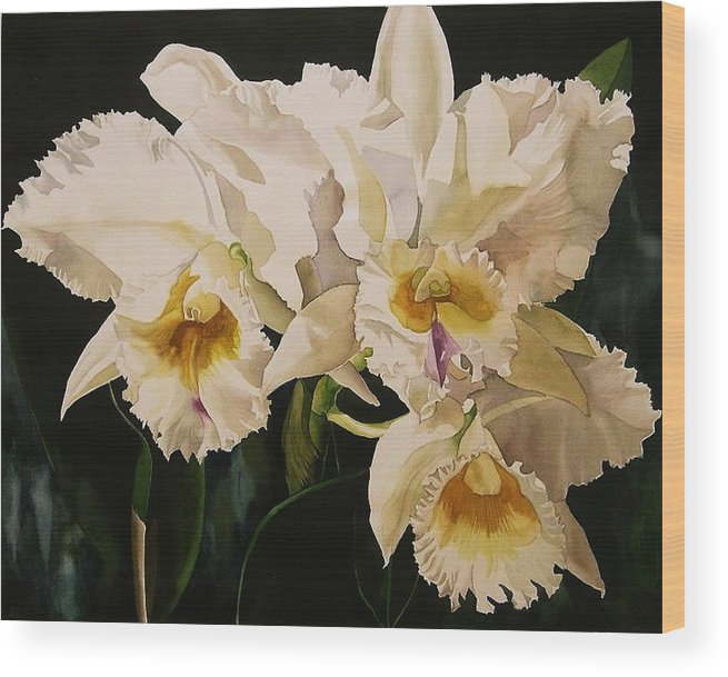 Orchid Wood Print featuring the painting White Cattleya Orchids by Alfred Ng