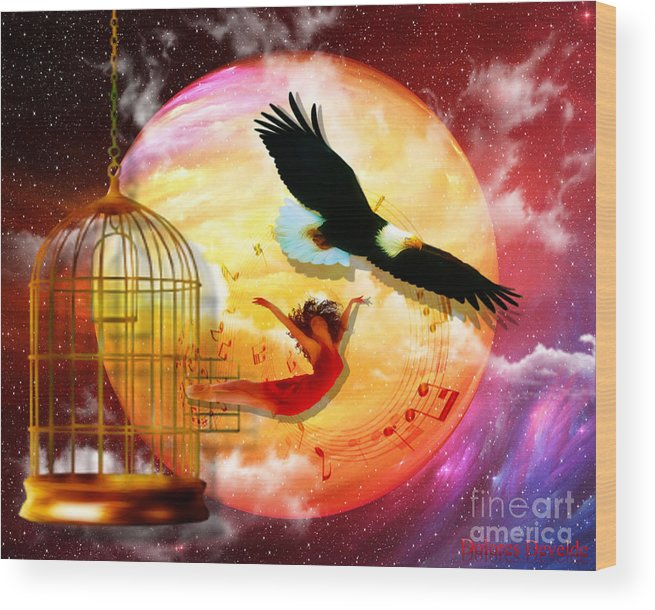 Eagle Cadge Freedom Isaiah 40:31 Wood Print featuring the digital art Set Free by Dolores Develde