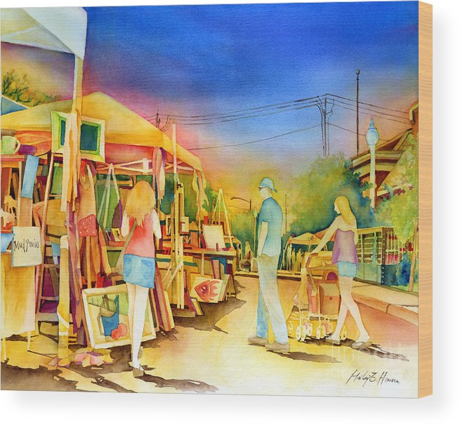 Downtown Bryan Wood Print featuring the painting Street Art Fair by Hailey E Herrera