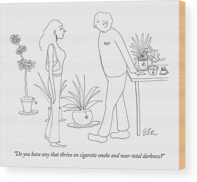 Nature Fitness Shopping Environment Word Play  (woman Shopper To Plant Store Clerk.) 121425 Eri Emily Richards Wood Print featuring the drawing Do You Have Any That Thrive On Cigarette Smoke by Emily S. Hopkins