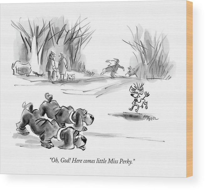 Dogs Talking Word Play  (two Bloodhounds Talking About Small Dog Running Toward Them.) 120679 Llo Lee Lorenz Wood Print featuring the drawing Oh, God! Here Comes Little Miss Perky by Lee Lorenz