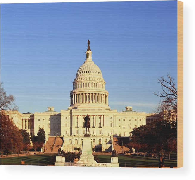 Adnt Wood Print featuring the photograph Usa, Washington Dc, Capitol Building by Walter Bibikow