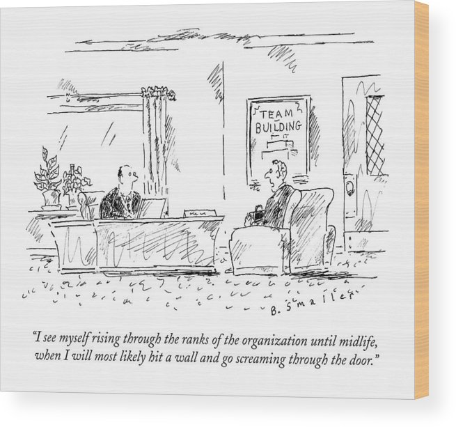 #condenastnewyorkercartoon Wood Print featuring the drawing A Man Interviews For A Job by Barbara Smaller