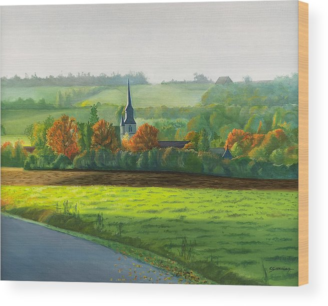 Autumn Wood Print featuring the painting Autumn Morning At St Ulphace by Christian Simonian