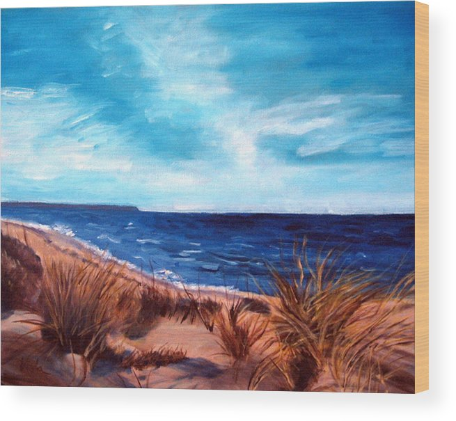 Chapin Beach Wood Print featuring the painting Before The Tumble At Chapin Beach by Viola Holmgren
